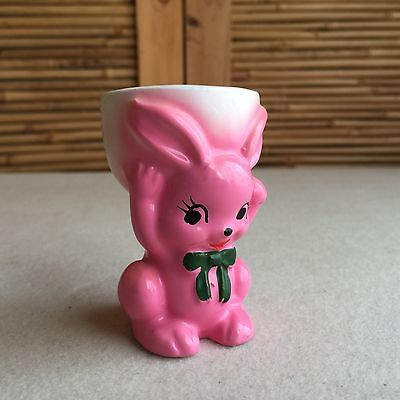 Fab RETRO Vintage 50s KITSCH Pink RABBIT Bunny CERAMIC Egg CUP ~ Made in JAPAN