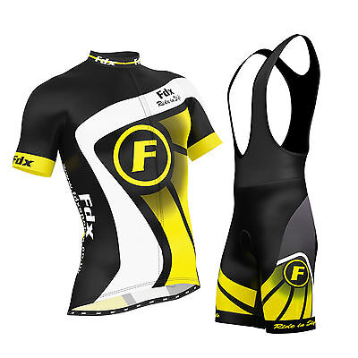 FDX Mens Cycling Jersey Half Sleeve Top Racing Team Biking Top + Bib shorts set