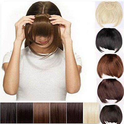 UK Lady Clip On In Front Hair Bang Fringe Hair Extension Straight one piece hg12
