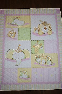 Pink Sleeping Animals cot quilt
