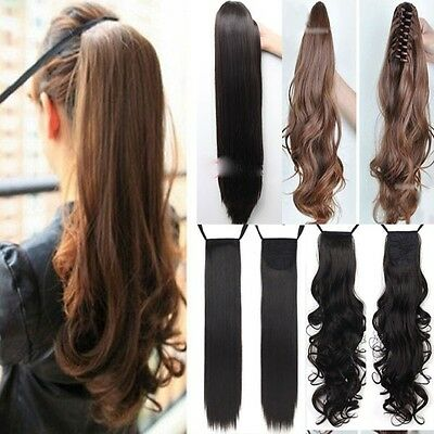Real thick ponytail clip in pony tail hair extension wrap/claw on hairpiece ho96