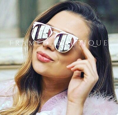 ROSE Gold PINK Reflective MIRRORED AVIATOR SUNGLASSES Celebrity STYLE Miami SKI
