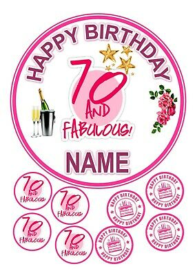"""70th FEMALE BIRTHDAY CAKE  ROUND EDIBLE ICED ICING 7.5"""" + 8 CUPCAKE TOPPERS"""