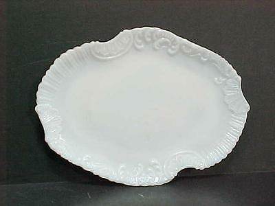 VICTORIAN EAPG Glass Dresser Tray / Serving Ornate Shell Scroll in Opaque Milk