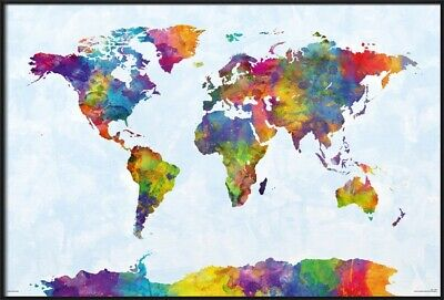 Map Of The World - Framed Art Poster / Print (Watercolor Art - With Antarctica)