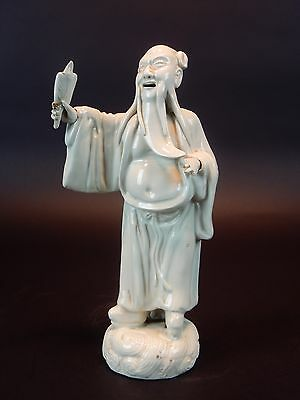 Antique Chinese Porcelain Statue of Scholar removable hands 9 inches. Signed