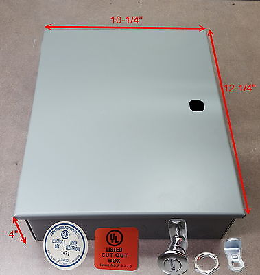 "Electrical Enclosure,.nema 1. 12"" x10"" x 4""  hinged. Made in CANADA"