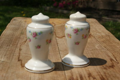 Vintage...foral, With Gold Tone...salt & Pepper Shakers