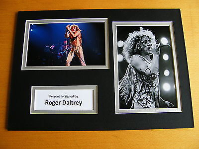 ROGER DALTREY HAND SIGNED AUTOGRAPH A4 PHOTO DISPLAY COA THE WHO Music GIFT