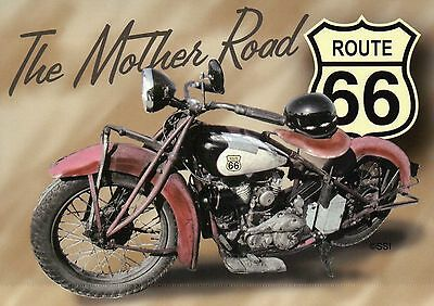 Route 66, The Mother Road 11-11-1926 till 6-27-1985, Motorcycle, USA -- Postcard