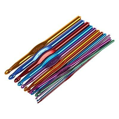 14 Sizes Multi coloured Aluminum Crochet Hooks Needles Set 2mm-10mm N3
