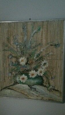 Elmo Gideon RARE Oil on Board. Mid Century Floral 23 x 27