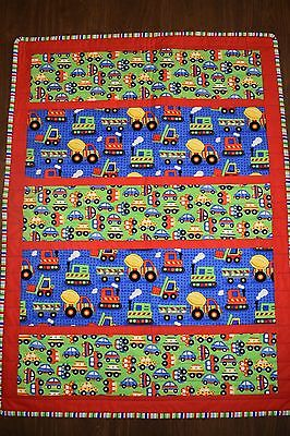Baby Boy's cars and trucks cot quilt - handmade