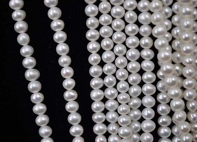 Fine lots 5 strands 4mm near round Real freshwater pearl free shipping