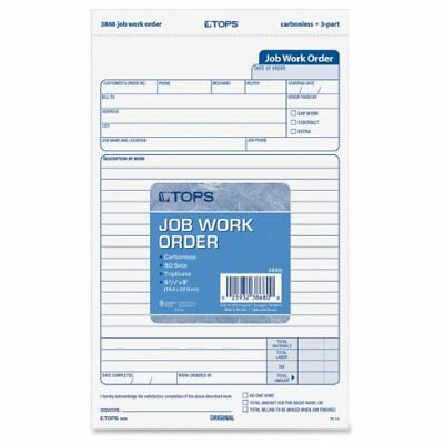 TOPS Job Work Order Forms, 3-Part, Carbonless, 5-1/2 x 9-1/8 Inches, 50 Sets