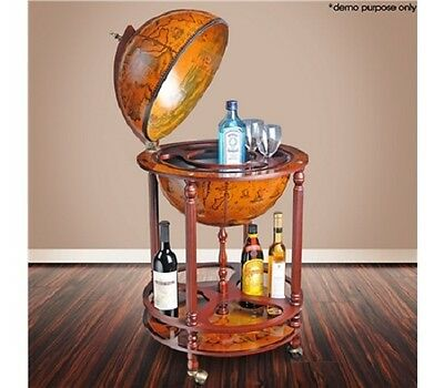 NEW Classic Deluxe Antique Globe Home Office Bar Cabinet Drink Trolley Wine Rack