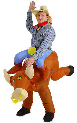 The Illusion Bull Rider Cowboy Mens Funny Fancy Dress Up Halloween Adult Costume