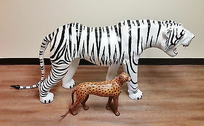 RARE-Near Life Size White Bengal Tiger Leather & Wood Statue Sculpture Figurine