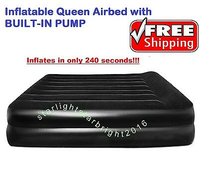 Inflatable Queen Mattress Air Bed Airbed Guest Spare Blow-Up Bed BUILT-IN PUMP