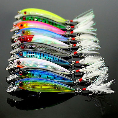 Lot of 10pcs Fishing Lures Crankbaits Hook Minnow Baits Tackle Crank Fishing Set