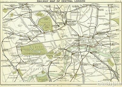 Vintage Style 1899 Railway Map of Central London Travel Poster Print Picture A4