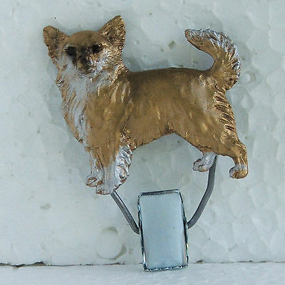 Chihuahua Longhair Fawn White Show Ring Clip Dog Breed Jewellery Handpainted