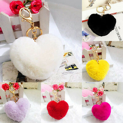 Soft Cute Rabbit Fur Heart Shape Ball PomPom Car Handbag Key Chain Ring