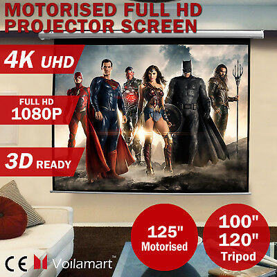 100'' 120'' Portable HD Projector Screen Tripod 1080p 3D Home Theater Projection
