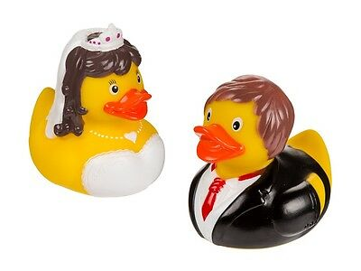Large Set of 2 Bride and Groom  Couple Rubber Ducks Ideal Novelty Gift