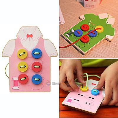 Kids Montessori Educational Toy Beads Lacing Board Wooden Toys Children Gift