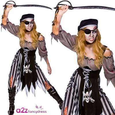 Ladies Zombie Cutthroat Pirate Costume Adult Halloween Living Dead Fancy Dress