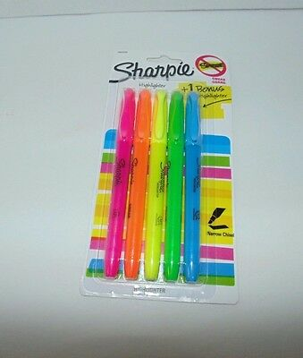 New Sharpie 5 Assorted Fluorescent Highlighters - Narrow Chisel Point