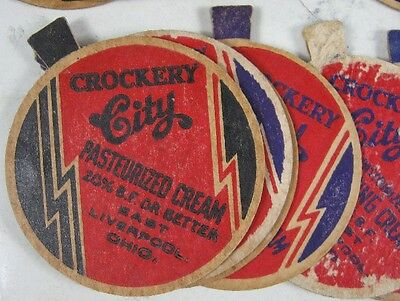 19 1930's-40's Milk Bottle Caps Crockery City Whipping Cream East Liverpool, OH