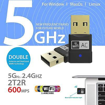 Mini USB Wireless Adapter Dual Band 2.4GHz 5GHz WiFi Dongle 802.11 AC for PC UK