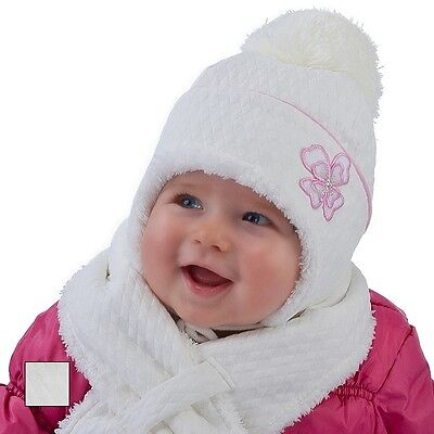 Baby Girl Hat & Scarf Infant Girls Winter Autumn Set Size 9 - 24 mths NEW