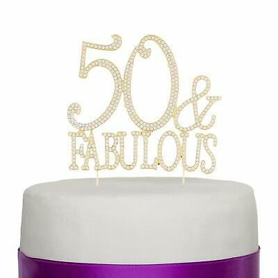 50 & Fabulous Gold Rhinestone Cake Topper Birthday Party Decoration