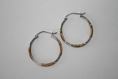 10K White and Yellow Gold Hoop 1.5mm X 20mm - NEW