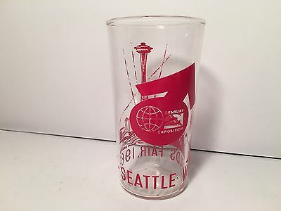 Vintage Seattle Worlds Fair 1962 Glass Red Writing On Clear Glass Tumbler