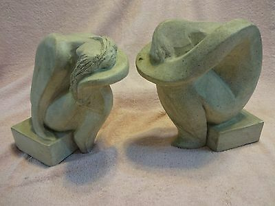 Austin Prod Inc 1980 Sculpture Statues of a Man and Women Bookends