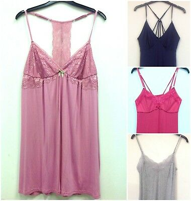62849a40fb (s2) VARIOUS COLOUR LADIES EX STORE JERSEY CAMI NIGHTDRESS NIGHTIE UK SIZES  8-