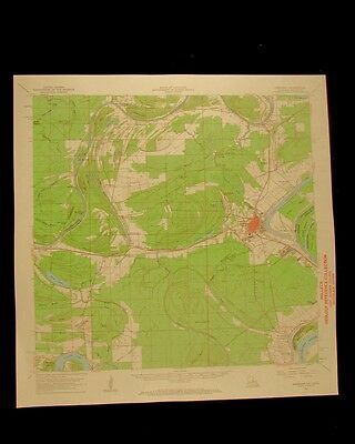 Ferriday Louisiana Mississippi vintage 1962 original USGS Topographical chart