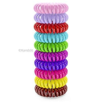 10 Spiral Plastic Hair Bands Baby Girls Ponytail Stretchy Elastic Bobbles Band