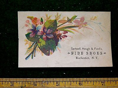 1870s-80s Sartwell, Hough & Ford's Fine Shoes, Rochester, NY Trade Card #1 F24