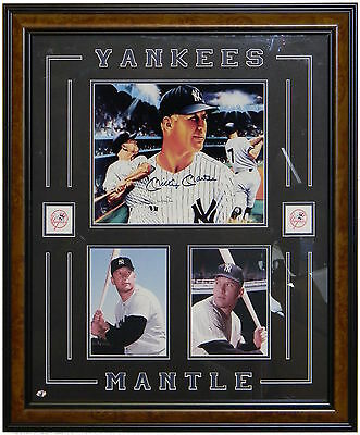 Mickey Mantle Autographed 16x20 Lithograph Framed