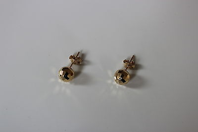 14K Yellow Gold Polished Hallow Ball Stud Earrings 7 mm  - NEW