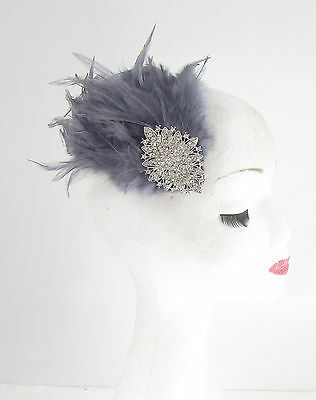 Dark Grey Silver Feather Fascinator Headpiece Races Diamante Hair Clip Vtg 553