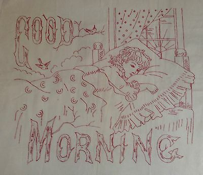 RARE Vintage Red work Embroidery Good Morning And Good Night - Redwork Samplers