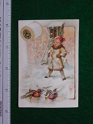 1870s-80s J & P Coats Six Cord Girl with Ducks Snowy Victorian Trade Card F26