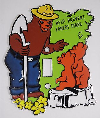 Rare Vintage Smokey The Bear Plastic Light Switch Plate Cover