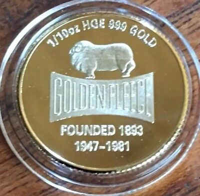 Golden Fleece Finished In 24k Gold .999 1:10th Mini Collectors Coin Petrol SALE